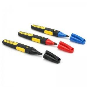 Permanentní popisovač dlátový hrot černý, červený a modrý Stanley 1-47-315