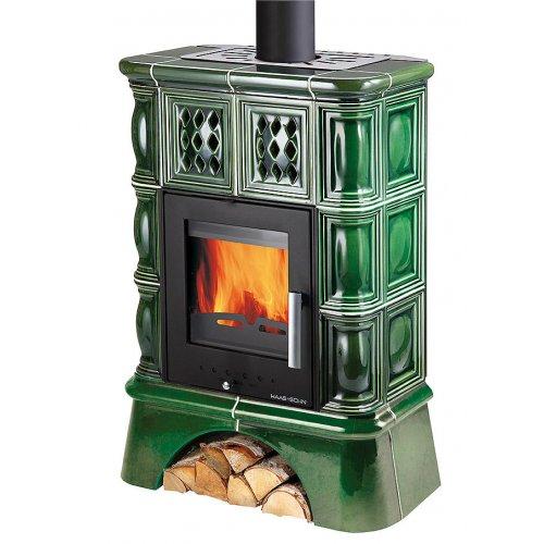 Kachlová kamna černá, zelená kachle + kachlový sokl Haas+Sohn TREVISO II