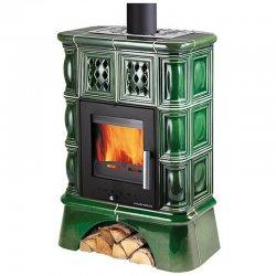 Kachlová kamna s výměníkem černá, zelená kachle + kachlový sokl Haas+Sohn TREVISO II