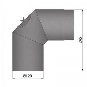 Koleno regulovatelné, 3dílné, 2 x 45°, průměr 120 mm s čistícím otvorem