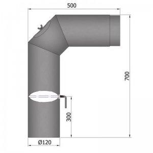 Koleno s klapkou a čistícím otvorem 700x500, 2 x 45°, průměr 120 mm