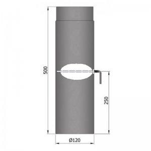 Kouřovod průměr 120mm, délka 50cm s klapkou