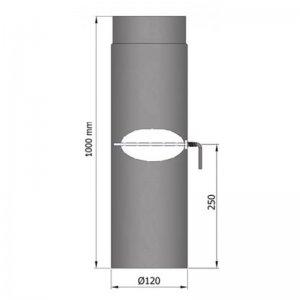 Kouřovod průměr 120mm, délka 100cm s klapkou