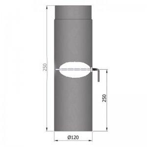 Kouřovod průměr 120mm, délka 25cm s klapkou