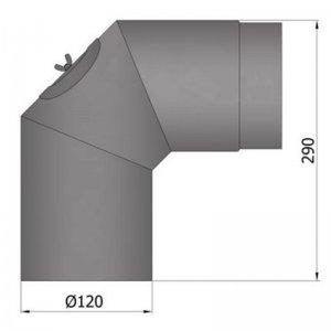 Koleno 2 x 45°, průměr 120 mm s čistícím otvorem