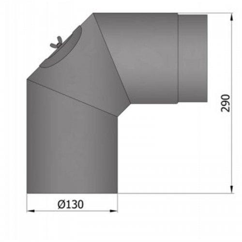 Koleno 2 x 45°, průměr 130 s čistícím otvorem