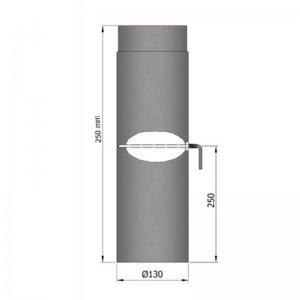 Kouřovod průměr 130mm, délka 25cm s klapkou