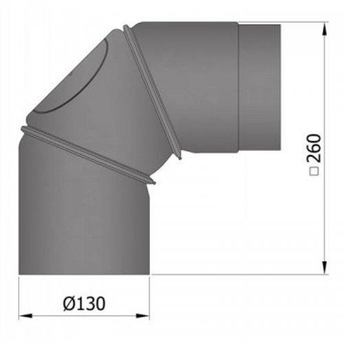 Koleno regulovatelné, 2dílné, 45°, průměr 130 mm s čistícím otvorem