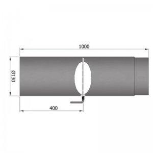 Kouřovod průměr 130mm, délka 100cm s klapkou