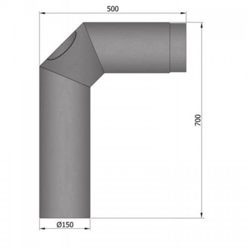 Koleno 2x45°, 700x500, průměr 150 s čistícím otvorem