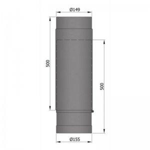 Kouřovod teleskopický, průměr 150mm, délka 50-80cm