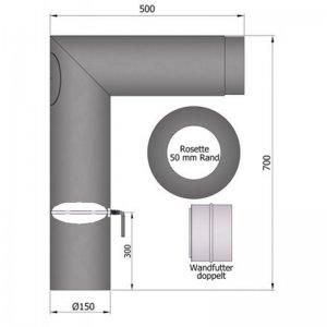 Set kouřovodu 700x500mm, ostrý, průměr 150mm s klapkou a čistícím otvorem 90°