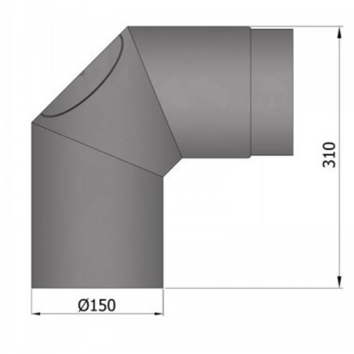 Koleno 2x45°, průměr 150 s čistícím otvorem