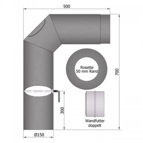 Set kouřovodu 700x500mm, průměr 150mm s klapkou a čistícím otvorem 2x45°
