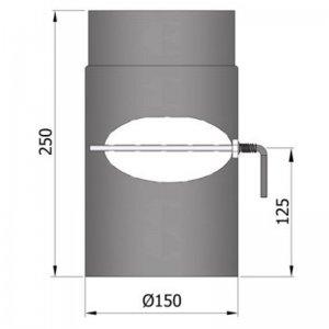 Kouřovod průměr 150mm, délka 50cm s klapkou