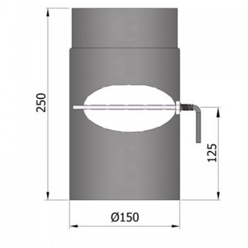 Kouřovod průměr 150mm, délka 25cm s klapkou