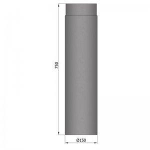 Kouřovod průměr 150mm, délka 75cm