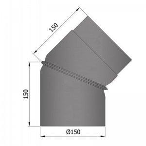 Koleno regulovatelné 2dílné, 0-45°, průměr 150