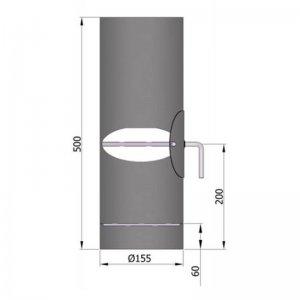 Kouřovod průměr 150mm, délka 50cm s kondenzačním žlábkem klapkou a čistícím otvorem