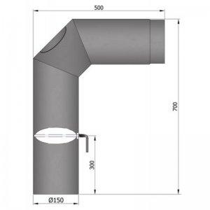 Koleno 2x45°, 700x500, průměr 150 s čistícím otvorem a klapkou