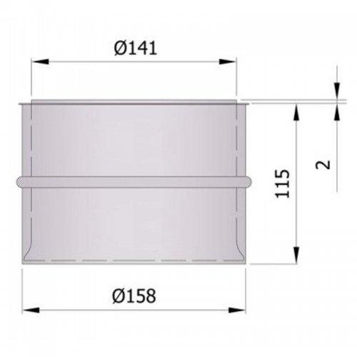 Dvojitá komínová zděř, průměr 150, dlouhá 115 mm