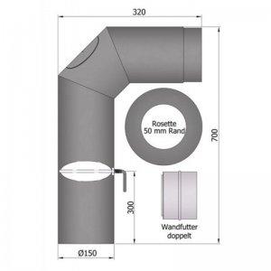Set kouřovodu 700x300mm, průměr 150mm s klapkou a čistícím otvorem 2x45°