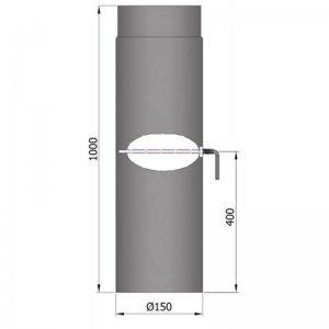 Kouřovod průměr 150mm, délka 100cm s klapkou