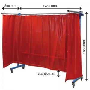 Pojízdná ochranná zástěna červená TransFlex 1613000