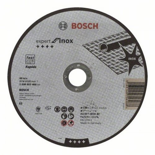 Dělicí kotouč rovný na nerez Expert for Inox Rapido AS 46 T INOX BF, 180 mm, 1,6 mm Bosch 2608603406