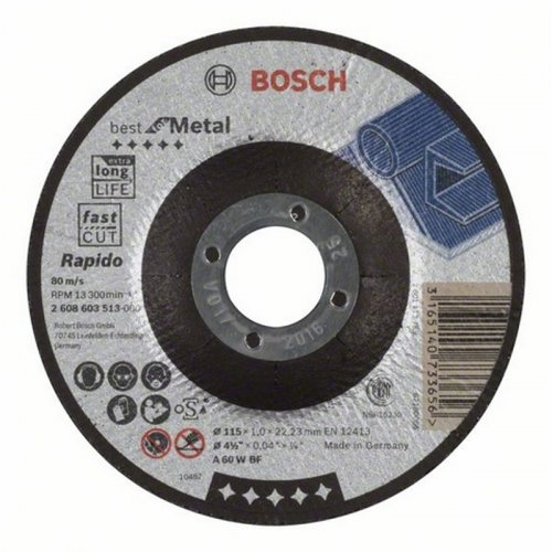Dělicí kotouč profilovaný Best for Metal Rapido A 60 W BF, 115 mm, 1,0 mm Bosch 2608603513