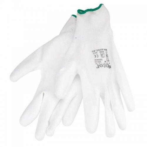 """Rukavice z polyesteru polomáčené v PU bílé velikost 11"""" EXTOL PREMIUM 8856633"""