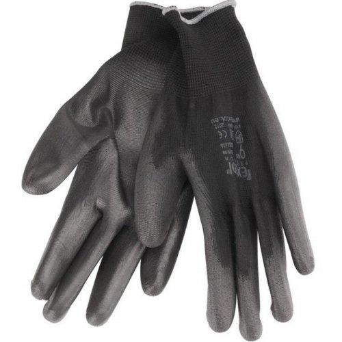 """Rukavice z polyesteru polomáčené v PU černé velikost 9"""" EXTOL PREMIUM 8856636"""