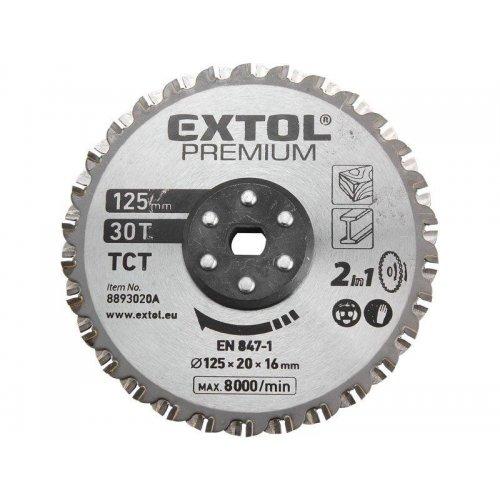 Řezný kotouč na dřevo a kov 125x20x16mm EXTOL PREMIUM 8893020A