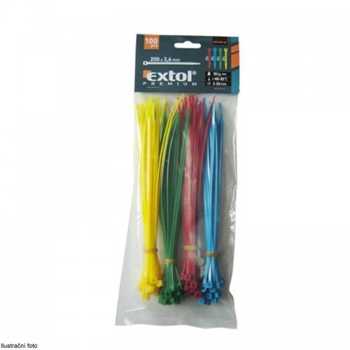 Stahovací pásky barevné 200x3,6mm 100ks (4x25ks) 4 barvy EXTOL PREMIUM 8856196