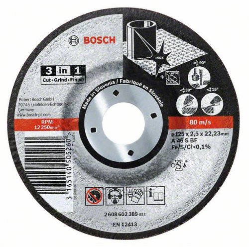 Dělicí kotouč na kov a nerez 3 v 1 A 46 S BF, 115 mm, 22,23 mm, 2,5 mm Bosch 2608602388