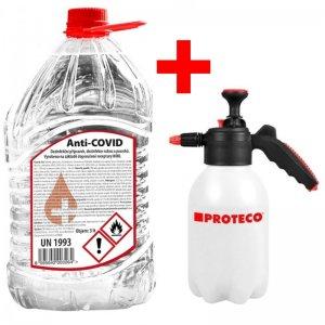 Dezinfekce na ruce a povrchy 3l ANTI-COVID + 1l postřikovač Proteco