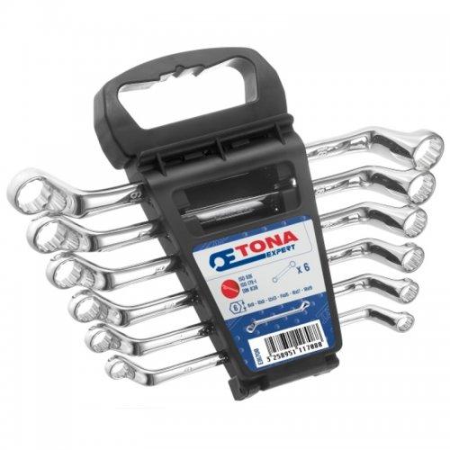6dílná sada vyhnutých očkových klíčů 8x9 - 18x19 mm v plastovém držáku TONA Expert E111708T