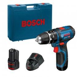 Aku vrtací šroubovák s příklepem 2x2,0Ah Bosch GSB 12V-15 Professional