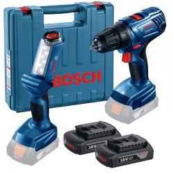 Aku vrtací šroubovák 2x1,5Ah Bosch GSR 180-LI Professional + aku lampa GLI 18V-300