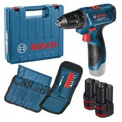 Aku vrtací šroubovák 2x1,5Ah Bosch GSR 120-LI Professional + sada vrtáků a bitů