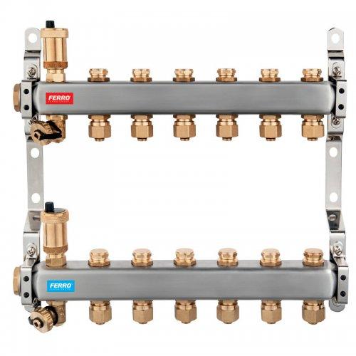 Rozdělovač nerez s regulačními mechanickými ventily 2 okruhy Novaservis SN-RO02S