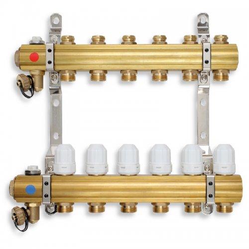 Rozdělovač s regulačními, termost. a mech. ventily 10 okruhů Novaservis RZ10S