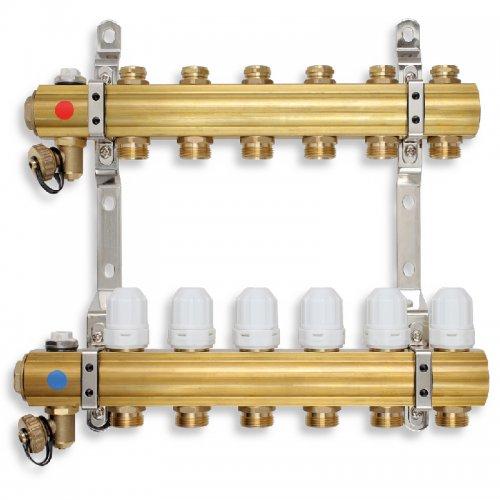 Rozdělovač s regulačními, termost. a mech. ventily 7 okruhů Novaservis RZ07S