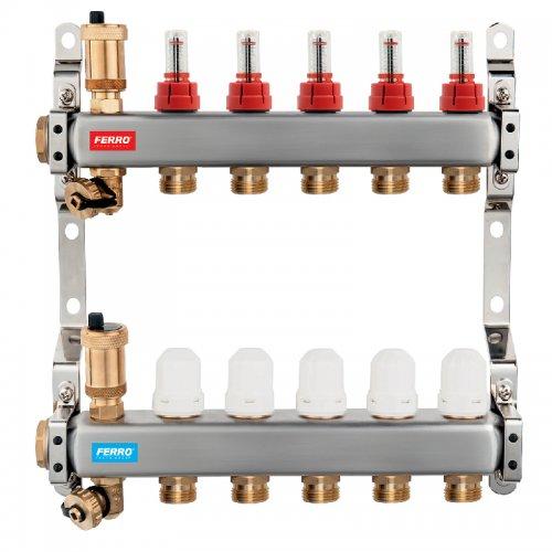 Rozdělovač nerez s průtokoměry a uzavíracími ventily 5 okruhů Novaservis SN-RZPU05S