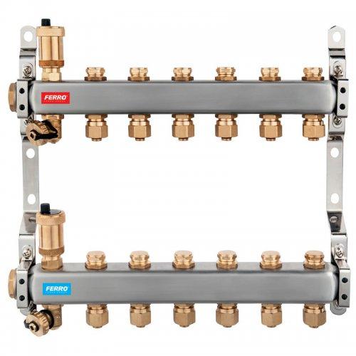 Rozdělovač nerez s regulačními mechanickými ventily 6 okruhů Novaservis SN-RO06S