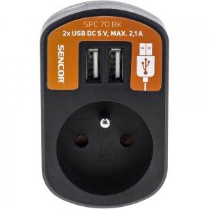 Zásuvka s 2xUSB, 5V/2100mA SENCOR SPC 70 BK 50002321